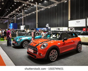 Bangkok Thailand 17 Aug 2019: Mini Cooper orange color model 2019 in Big Motor Sale exhibitions in Bangkok, Thailand