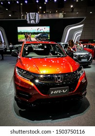 Bangkok Thailand 17 Aug 2019: Honda HR-V RS orange color model 2019 in Big Motor Sale exhibitions in Bangkok, Thailand