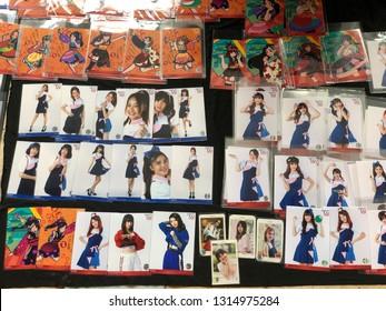 Bangkok, Thailand - 17 Febuary 2019 : pop idol photoset or Thai pop idol 'SWEAT16!' official goods and merchandise and photoset. Sweat16 is a girl pop idol group of Thailand like BNK48 or 7th sense.