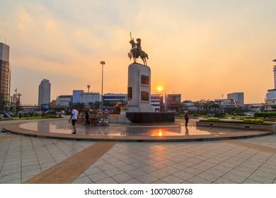 Bangkok , Thailand - 17 January, 2018: King Taksin statue at Wongwainyai circle