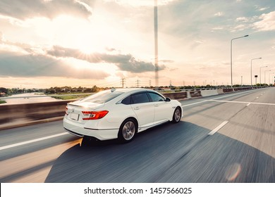 Bangkok, Thailand -17  July 2019 : New Honda Accord  on the road in sunset