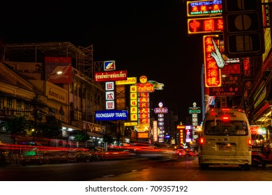 BANGKOK, Thailand - 17.02.2017 - Chinatown district during night with glowing neon lights