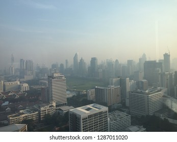 Bangkok, Thailand, 17Jan. 2018, this morning those who lives in Bangkok must be aware and wearing masks because of dirty air. The dust smaller than 2.5 microns (PM 2.5)