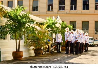 Bangkok, Thailand, 18 Apr 2011, Thai Royal guard officer in Grand Palace Bangkok portrait shot with nature behavior and light scene