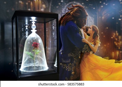 Bangkok, Thailand - 18 February, 2017: Beautiful Standee of Beauty and the Beast at the theater