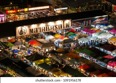Bangkok, Thailand - 18 February 2018 : Train Night Market Ratchada in Bangkok, Thailand.