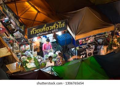 Bangkok, Thailand - 18 February 2018 : A lot of people are shopping at the Train Night Market Ratchada in Bangkok, Thailand.