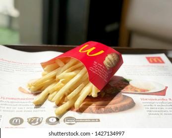 Bangkok Thailand 18 June 2019 : Mcdonald's french fried Mcdonald's restaurant. Food business background