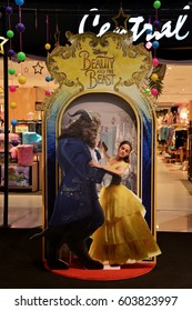 Bangkok, Thailand - 18 March 2017: Beautiful Standee of Beauty and the Beast at the gift shop