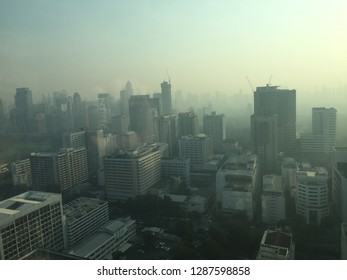 Bangkok, Thailand, 18Jan. 2019 this morning those who lives in Bangkok must be aware and wearing masks because of dirty air. The dust smaller than 2.5 microns (PM 2.5)