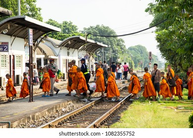 BANGKOK THAILAND - 19 Apr 2018 : Novice group back from field trip traveling by train and walk line up across railroad. there are station staff take care security at junction Bang Sue train station.