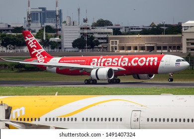 Bangkok Thailand 19 Aug 2019:Thai Air Asia X was operating new Airbus A330-900 neo (new engine option) and touching down in Don Muang international airport.