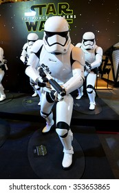 Bangkok, Thailand - 19 December, 2015: The Stormtrooper Models at Star Wars The Force Awakens Thailand Premiere Exhibition at Central World Shopping Center.