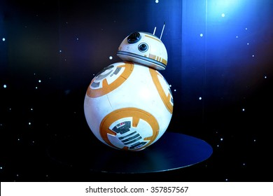 Bangkok, Thailand - 19 December, 2015: BB-8 Android Models at Star Wars The Force Awakens Thailand Premiere Exhibition at Central World Shopping Center.
