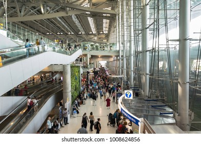 BANGKOK, THAILAND - 19 JANUARY 2018 : Passengers at the arrival concourse of Suvarnabhumi International Airport. BKK is one of the busiest airport in the world