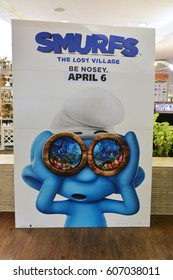 Bangkok, Thailand - 19 March 2017 - Beautiful Standee of Movie SMURF The Lost Village at the theater