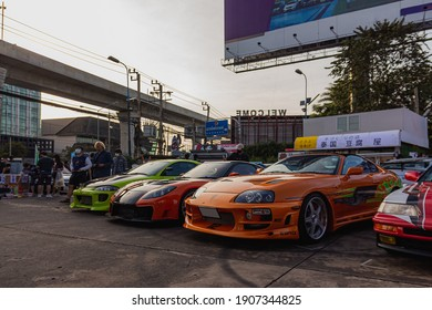 Bangkok, Thailand : 19-12-20 A three beautiful cars modified like from fast and furious movie. it's have Eclipse and supra from The first film and rx7 veilside from tokyo drift  in a big cars meeting
