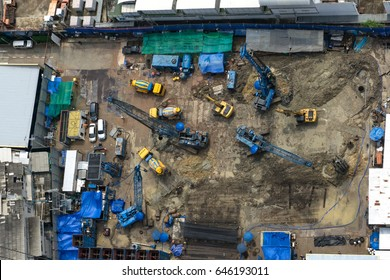 BANGKOK, THAILAND, 19th May 2017. Top view construction site workers are building. Aerial view.