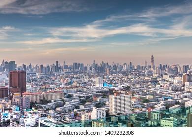 Bangkok, Thailand - 1st January 2019: Bangkok City Skyline on New Year's Day 2019. Celebration Day for the Land of Smiles.