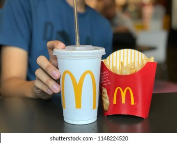 Bangkok Thailand 2 August 2018 :  McDonald's French fried and cola drink at McDonald's restaurant