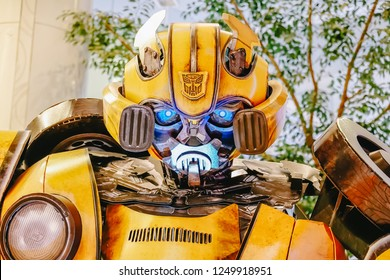 Bangkok Thailand, 2 December 2018 : Transformers Autobot Bumblebee promoting feature film movie at the theater.