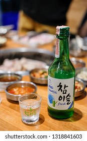 Bangkok, Thailand - 2 February 2019: Jinro Chamisul Soju. It is a famous clear, colorless distilled beverage of Korean origin. Jinro is the largest manufacturer in South Korea.
