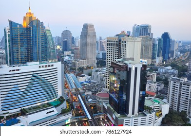 BANGKOK THAILAND, 2 JANUARY 2018 : Bangkok cityscape skyline from sukhumvit area which is metropolis & favorite city of tourists around the world. The city located between modern building skyscraper.