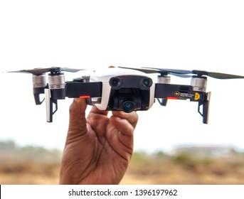 Bangkok, Thailand - 2 May 2019:  DJI MAVIC AIR - Compact Drone by DJI with 12 MP 4K HDR camera, mounted on a 3-axis gimbal. Camera and sensors view. Technological Equipment.