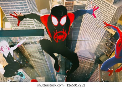 BANGKOK, THAILAND, 20 December 2018 - A beautiful standee of a movie called Spider-Man into the Spider-verse display at the cinema to promote the movie