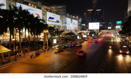 BANGKOK, THAILAND - 20 JANUARY 2018 : Night view of central shopping mall on ratchadamri Road in Bangkok. Bangkok is one of the worlds top tourism destination.