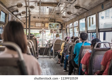 Bangkok, Thailand 20 July 2018 : Passengers on a bus traveling around Bangkok in Thailand