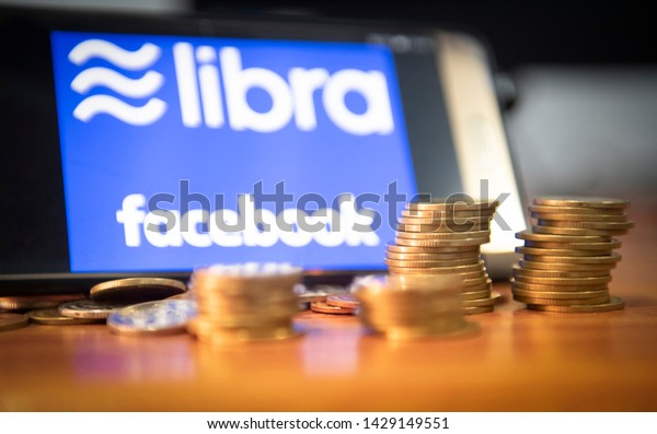 Bangkok Thailand - 20 June 2019 : Libra coin blockchain concept / New project libra a cryptocurrency launched by Facebook looks to mainstream digital currency through apps like , selective focus