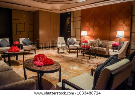 Bangkok, Thailand   2016 : Chinese Living Room Preparation In Restaurant At  Shangri La