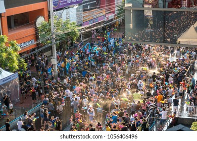 Bangkok, Thailand - 2017 April 15 - Songkran Water Festival crowded with people in Siam area, Bangkok, Thailand