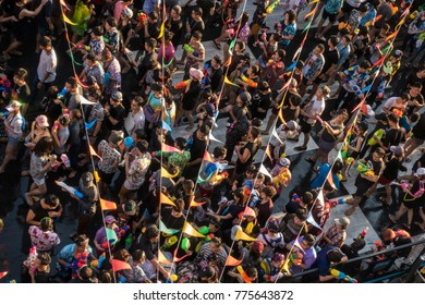 Bangkok, Thailand - 2017 April 15 - Songkran Water Festival crowded with pelple in Siam area, Bangkok, Thailand