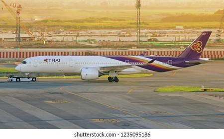 BANGKOK THAILAND / 2017 OCT 23 / Thai Airways A350-900 Taxi at Suvanabhumi Airport in evening