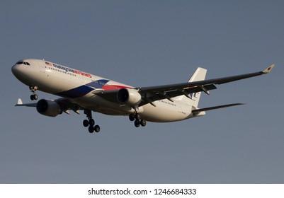 BANGKOK THAILAND / 2018 DEC 02 / Malaysia airlines Airbus A330-300 landing at Bangkok Suvanabhumi Airport (VTBS)