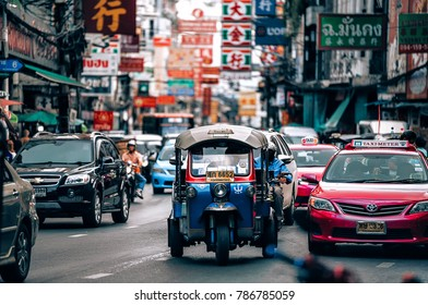 Bangkok, Thailand : 2018, January 2 : Tuk Tuk (auto rickshaw) is a common form of urban transport in Chinatown at Bangkok, Thailand.