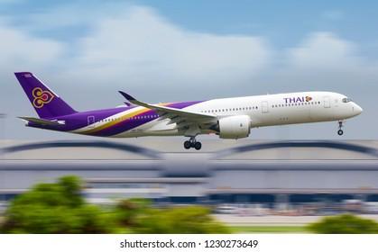 BANGKOK - THAILAND / 2018 OCT 22 / AIRBUS A350-900 THAI Airways Landing at Suvarnabhumi Airport  , HS-THJ
