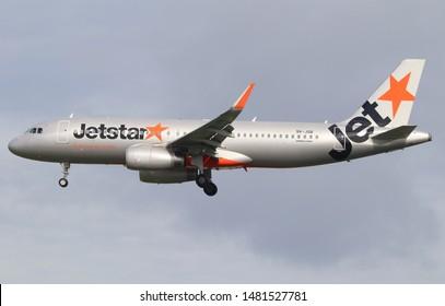 Bangkok Thailand / 2019 AUG 18 / JetStar Airbus A320-200 landing at Suvarnabhumi Airport VTBS.