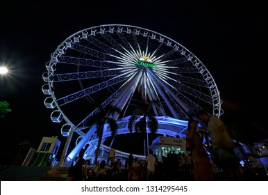 Bangkok, Thailand - 2019: Big ferris wheel at Asiatique night market.
