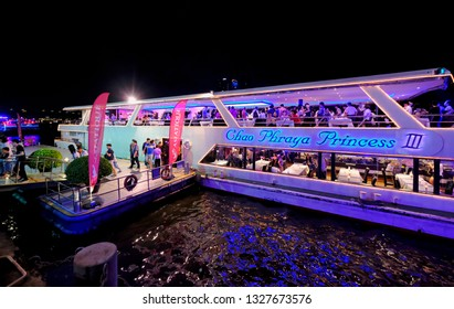 Bangkok, Thailand - 2019: The Chao Phraya Princess boat waiting for people at the Asiatique Riverfront Nightmarket.
