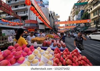 Bangkok, Thailand - 2019:  Chinese New Year celebrations along Yaowarat road.