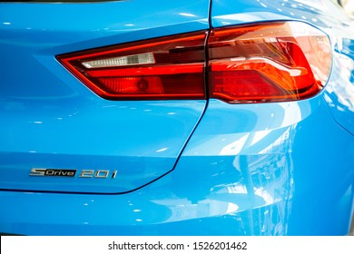 Bangkok , Thailand 2019 : close up tail light rear view of BMW X2 sDrive 20i M Sport X luxury car presented in motor show Thailand .