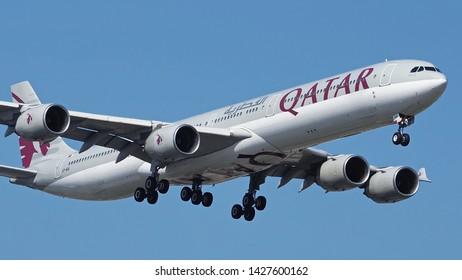 Bangkok Thailand / 2019 Jun 15 / Qatar Airbus A340-600 Airways landing at Suvanarbhumi Airport VTBS.