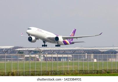 Bangkok Thailand / 2019 June 8 / Thai airways Airbus a350-900  takeoff from  suvanarbhumi airport VTBS.