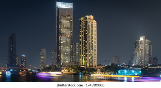 Bangkok/ Thailand -2020: residential area along Chaopraya riverside. A place to live in Bangkok, Expat place to stay for working in Thailand