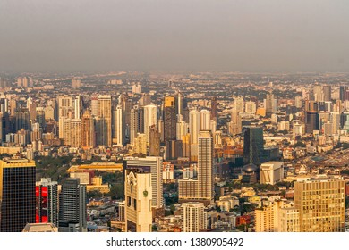 BANGKOK, THAILAND - 20th APRIL, 2019 - Photos of Bangkok City line, landscape and skyscrapers taken from the rooftop of the new tallest building of Bangkok city, the King Power Mahanakhon Skywalk.