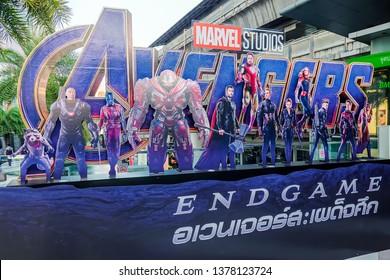 BANGKOK, THAILAND - 21 April, 2019 : Avengers Endgame poster displayed; The Avengers, is a American superhero film based on the Marvel Comics superhero team produced by Marvel Studios