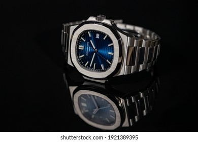 Bangkok, Thailand 21 February 2021; Patek Philippe Nautilus 57111A Closeup photo. Blue dial. Luxury watch. Most hyped watch in  2021.